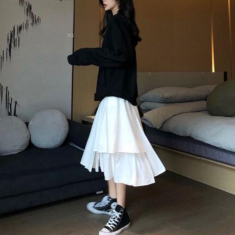 スカート 不規則 イレギュラー Aライン 韓国ファッション レディース 無地 すね丈 ハイウエスト ガーリー フェミニン レトロ DTC-603415311658