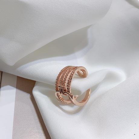 リング 指輪 フリーサイズ キュービックジルコニア 韓国アクセサリー CZ ジルコン 開口部調整可能 合金 メッキ アクセサリー ジュエリー (DTC-596928363599)