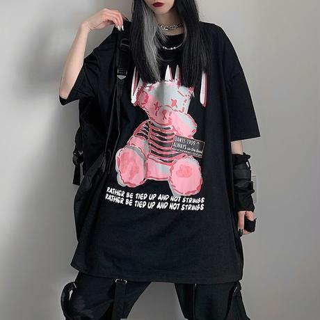 ユニセックス Tシャツ クマちゃん 袖プリント バックプリント 半袖 韓国ファッション メンズ レディース 大きめ ルーズ カジュアル ストリート系 DTC-637637782135