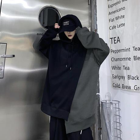 ユニセックス パーカー アシンメトリー 重ねデザイン プラスベルベット ルーズ 韓国ファッション メンズ レディース 男女兼用 アシメ カジュアル ストリート系 DTC-634512223674