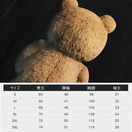 ユニセックス Tシャツ 半袖 メンズ レディース シンプル クマちゃんの後ろ姿 バックプリント オーバーサイズ 大きいサイズ ルーズ ストリート TBN-625866980293