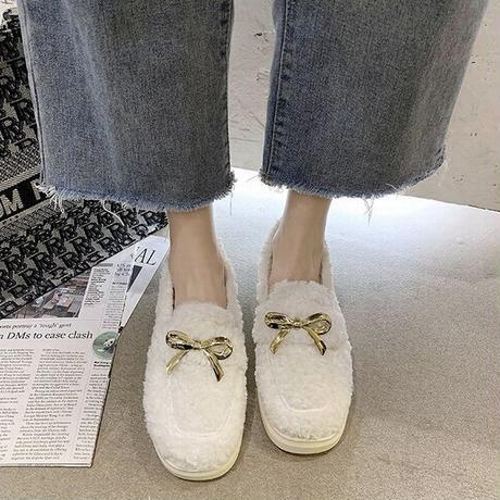 ファーシューズ ラムウール パンプス 22.5~25.0cm韓国ファッション レディース ボアシューズ ファー 防寒 もこもこ 歩きやすい 履きやすい カジュアル 631545625682