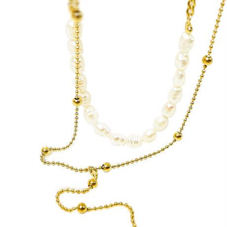 ボヘミアンリゾート 2連 ネックレス パール 金属アレルギー対応 ステンレス メンズ レディース シルバー ゴールド ピンクゴールド インスタ mnk01