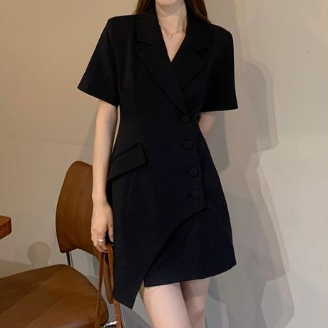 不規則デザイン スーツ風 ワンピース シングルブレスト ジャケット風 コート風 ハイウエスト 半袖 韓国ファッション レディース 大人可愛い ガーリー DTC-643170120884