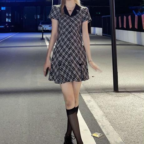 チェック柄 襟付き ワンピース シングルブレスト プリーツスカート リボン ハイウエスト 半袖 韓国ファッション レディース 大人可愛い ガーリー フェミニン DTC-649348488758