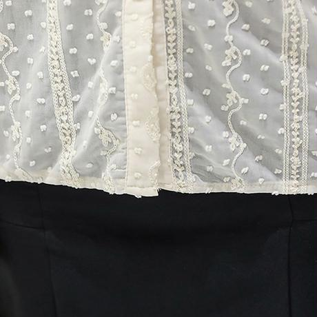 ドット柄 フリル シフォンブラウス 長袖 韓国ファッション レディース ブラウス 立襟 大人可愛い ガーリー DTC-624594717567