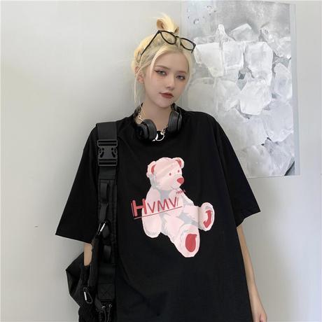 ユニセックス tシャツ クマちゃん ベアー ルーズ 韓国ファッション メンズ レディース オーバーサイズ トップス 大きめ カジュアル ストリートファッション DTC-642775642182
