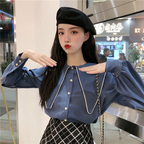 ブラウス シャツ 大きい襟 長袖 韓国ファッション レディース トップス ゆったり レトロ 大人可愛い ガーリー DTC-625130861610
