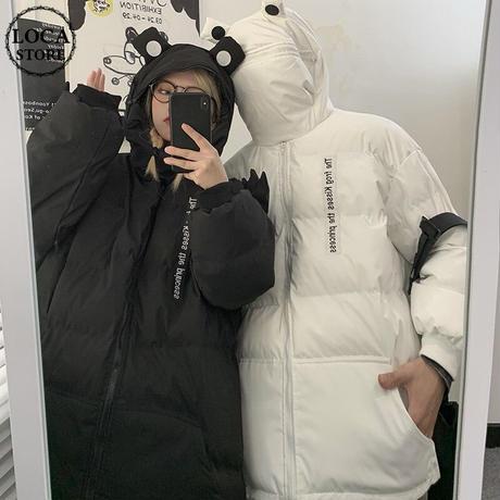 ユニセックス ダウンジャケット カエル フードジャッパー ルーズ 韓国ファッション メンズ レディース 男女兼用 ジップアップ ゆったり カジュアル ストリート系 DTC-631426595628