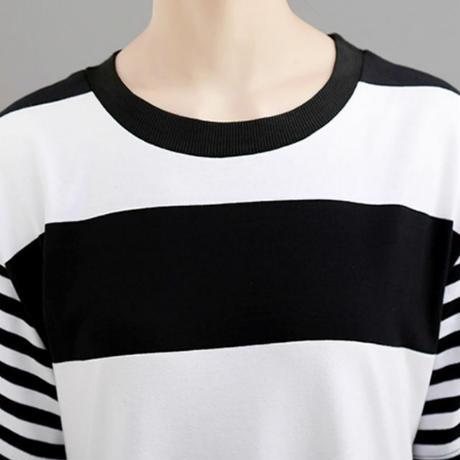 レディース ストライプ柄 アシンメトリーワンピース 個性的ファッション ハイウエスト 半袖 韓国ファッション (DCT-596696074894)
