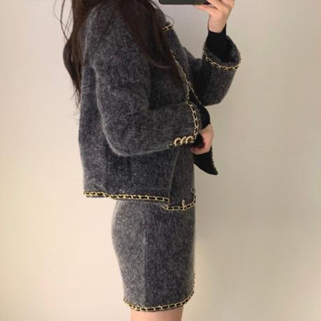 セットアップ ツイード ジャケット ショートコート + ミニスカート 韓国ファッション レディース 2点セット ハイウエスト 大人可愛い ガーリー DTC-630050657364