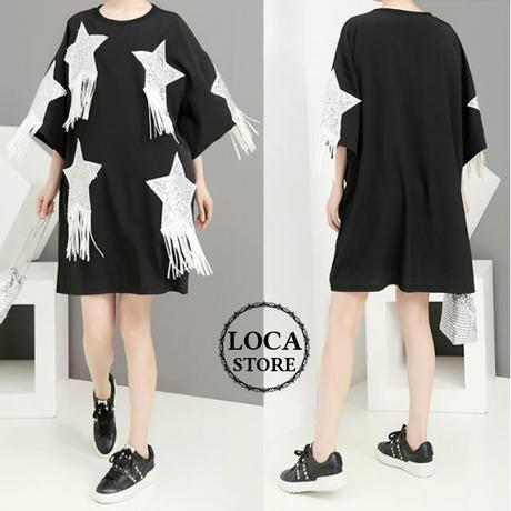 レディース ビッグTシャツ風ワンピース ゆったりシルエット 星柄 スパンコール フリンジ 半袖 5分袖 韓国ファッション (DCT-596284148333)