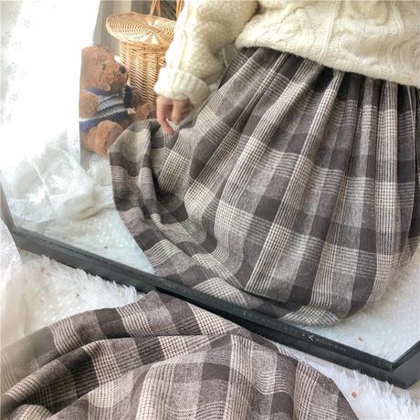 チェック柄 プリーツスカート 韓国ファッション レディース ハイウエスト ロングスカート 厚手 レトロ 秋 冬 大人カジュアル (DTC-602731012315)