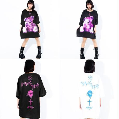 ユニセックス Tシャツ 半袖 メンズ レディース ラウンドネック クマちゃん ベアー バックプリント オーバーサイズ 大きいサイズ ルーズ ストリート TBN-623336890404