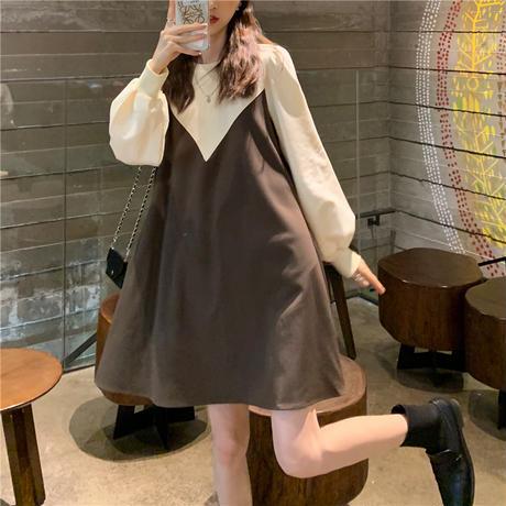 ワンピース フェイクレイヤード 長袖 ゆったり 韓国ファッション レディース ドッキングワンピース ラウンドネック 伸縮性ウエスト Aライン 大人可愛い ガーリー DTC-626497841493