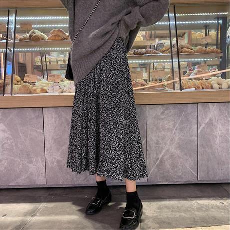 花柄 スカート フレア Aラインスカート 韓国ファッション レディース ロング丈 フローラル ハイウエスト 大人可愛い ガーリー フェミニン DTC-627230585978