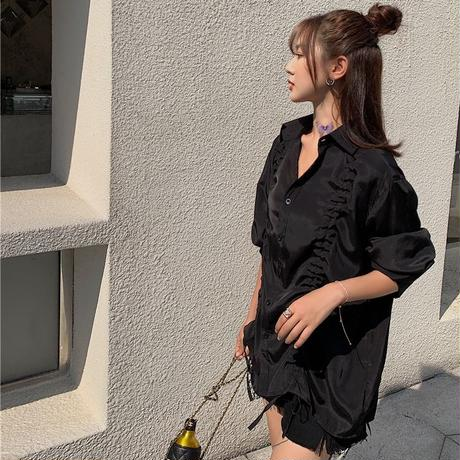 ギャザー シャツ ブラウス 絞り上げ 韓国ファッション レディース 長袖 トップス ゆったり 大人可愛い ガーリー DTC-618953320170