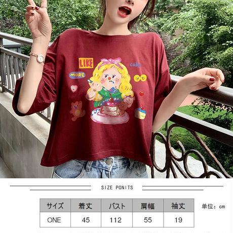 Tシャツ 半袖 ショート丈 ワインレッド 韓国ファッション レディース トップス ラウンドネック プリント かわいい カジュアル シンプル ガーリー DTC-620130460978_re