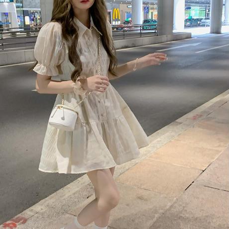 襟付き ワンピース パフ袖 薄手 シングルブレスト Aライン ハイウエスト 半袖 韓国ファッション レディース 大人可愛い ガーリー フェミニン DTC-649935824740