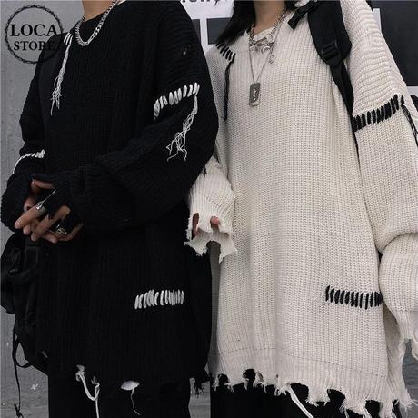 ユニセックス ダメージ加工 ニット ドロップショルダー 韓国ファッション メンズ レディース セーター オーバーサイズ ビター系 ストリート系 DTC-630242686847