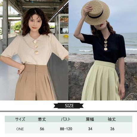 メタルボタン リブニット カットソー 韓国ファッション レディース トップス Tシャツ 襟 半袖 薄手 大人可愛い ガーリー DTC-597195357680