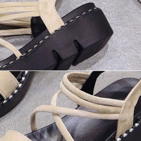 厚底サンダル クロスストラップ 韓国ファッション レディース サンダル アンクルストラップ ウェッジヒール ウェッジサンダル キュート 痛くない かわいい 歩きやすい 569300530171