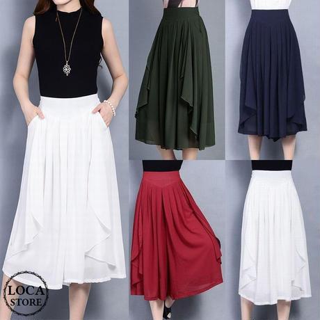 レディース レースフリル ワイドパンツ クロップドパンツ スカート風パンツ ガウチョ 韓国ファッション (DCT-588962570413_b)
