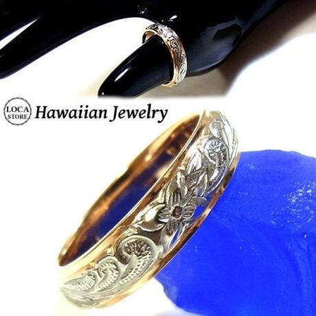 【ハワイアンジュエリー / HawaiianJewelry】 ステンレスリング/指輪 プルメリア カレイキニ スクロール (grs8525)