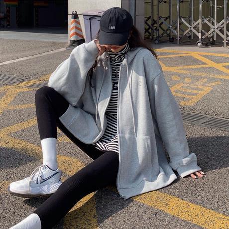 ジップアップ パーカー ワンポイント 韓国ファッション レディース トップス 長袖 カジュアル ストリートファッション DTC-638737949320
