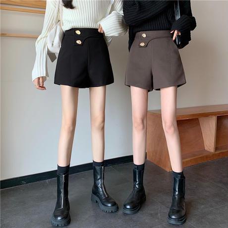 ショートパンツ ハイウエスト ボタン 韓国ファッション レディース ワイドレッグパンツ カジュアル 大人可愛い ガーリー DTC-631987259023