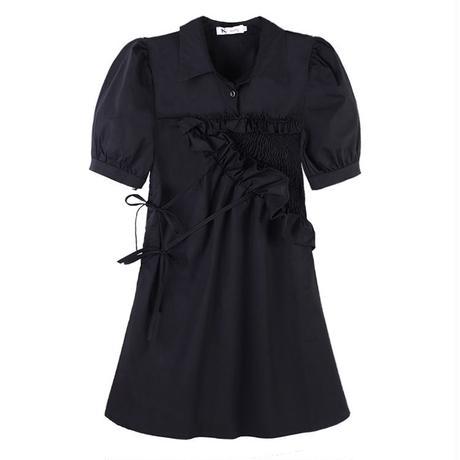襟付き ワンピース パフ袖 ハイウエスト 個性的デザイン 韓国ファッション レディース 半袖 大人可愛い ガーリー フェミニンDTC-639864728682)