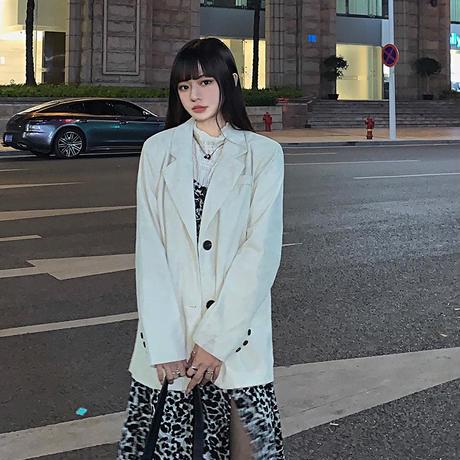コーデュロイ テーラードジャケット ルーズ シングルブレスト 韓国ファッション レディース 長袖 大人可愛い ガーリー DTC-632327247917