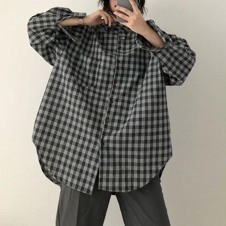 韓国ファッション チェック柄 シャツ ルーズ ゆったり 長袖 ストリート 襟ロング 大人カジュアル 秋 冬 オルチャン 韓国 レディース (DTC-601823900318_002)