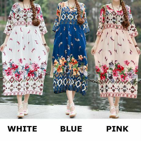 レディース 花柄 ハイウエスト ワンピース フラワープリント ラウンドネック 7分袖 韓国ファッション (DCT-590424441017)