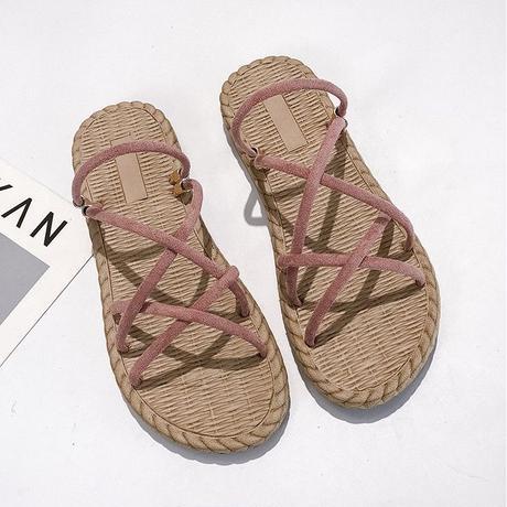 フラットサンダル ストラップ 韓国ファッション レディース ぺたんこ サンダル ロープサンダル 編み上げサンダル キュート 痛くない かわいい 靴 歩きやすい 595097531126