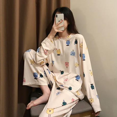 【ルームウェア】 パジャマ セットアップ トップス + パンツ プリント ラウンドネック 上下セット 長袖 韓国ファッション レディース 625829795764