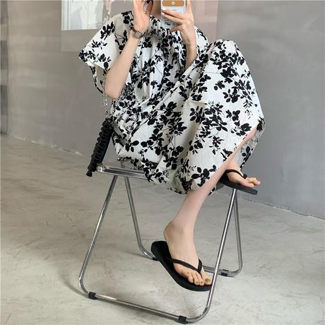 花柄 ワンピース 半袖 ハイウエスト ロング丈 薄手 ルーズ 韓国ファッション レディース 大人可愛い ガーリー フェミニン DTC-638662114410