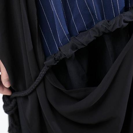 ノースリーブ ドッキングワンピース ストライプ 韓国ファッション レディース 半袖 ワンピース 切り替え フェイクレイヤード ゆったりウエスト 大人カジュアル 大人可愛い 621075078823