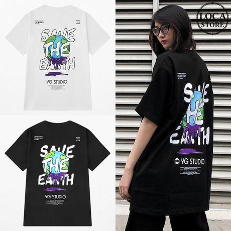 ユニセックス Tシャツ 半袖 メンズ レディース 地球 グラフィティアート プリント オーバーサイズ 大きいサイズ ルーズ ストリート TBN-624822609934