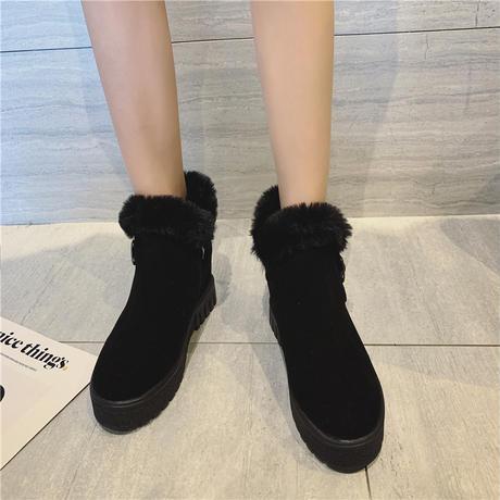 ファーブーツ ムートンブーツ 厚底 韓国ファッション レディース ラウンドトゥ もこもこ フラットシューズ ぺたんこ 歩きやすい 履きやすい (DTC-606135924264)