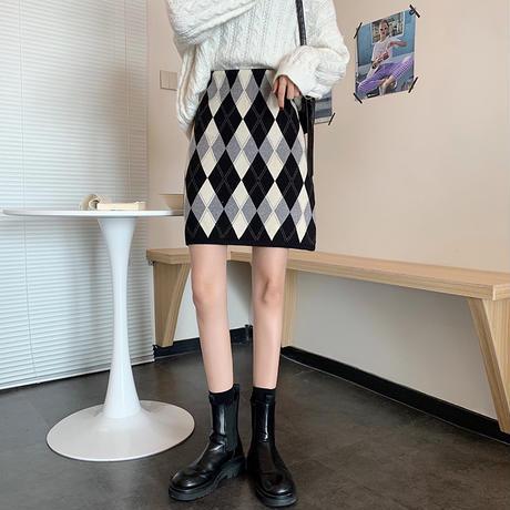 ニットスカート チェック柄 ダイヤ柄 Aライン ハイウエスト 韓国ファッション レディース スカート ニット カジュアル 大人可愛い ガーリー DTC-631975055480