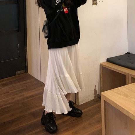 不規則デザイン プリーツスカート ミディアム丈 アシンメトリー 韓国ファッション レディース Aラインスカート アシメ ハイウエスト 大人可愛い ガーリー DTC-604528143206