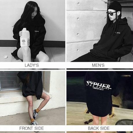 ユニセックス プルオーバー パーカー 裏起毛 韓国 ファッション メンズ レディース ストリート バックプリント 無地 秋 冬 オーバーサイズ (DTC-559814499883)