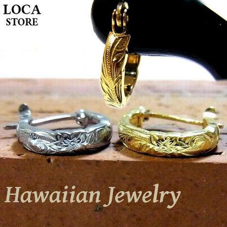 【ハワイアンジュエリー / HawaiianJewelry】 ピアス ゴールド プルメリア スクロール ホヌ【片耳用】(ges8126)