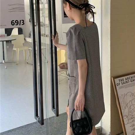チェック柄 ワンピース スクエアネック フロントボタン 半袖 パフ袖 韓国ファッション レディース 薄手 ハイウエスト 大人可愛い ガーリー DTC-647093590313