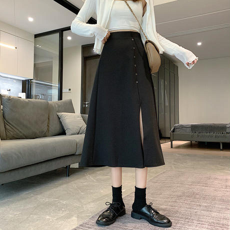 スプリットスカート Aライン ミドル丈 アプリコット ブラック 韓国ファッション レディース スカート クロッチスカート ハイウエスト 大人カジュアル かわいい ガーリー 626634086789
