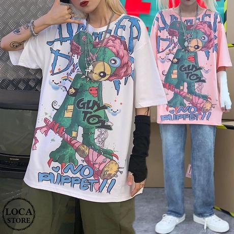 レディース Tシャツ クマプリント ゆったり 半袖 インスタ映え ストリート 韓国ファッション オルチャン ホワイト ピンク (DCT-597961777901)