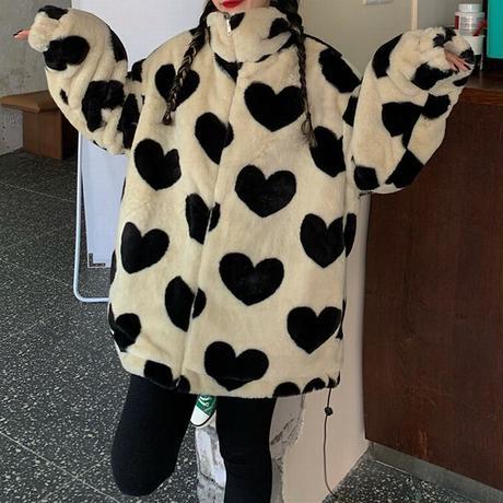 ハート柄 ボアジャケット ボアブルゾン ラムウール 韓国ファッション レディース ファーブルゾン ゆったり アウター かわいい 大人可愛い ガーリー DTC-631146782619