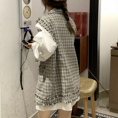 着回し力抜群 チェック柄 ベスト ツイード 韓国ファッション レディース 折襟 フリンジ ルーズ DTC-624390392508