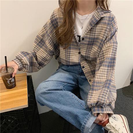 チェック柄 シャツ 起毛 オーバーサイズ 長袖 韓国ファッション レディース チェックシャツ シャツジャケット ルーズ 大きいサイズ ゆったり 大人可愛い ガーリー DTC-628559041267